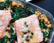 slow roasted salmon with kale