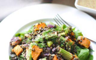 lentil, sweet potato and asparagus salad