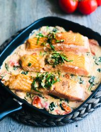 creamy salmon with tomatoes & spinach
