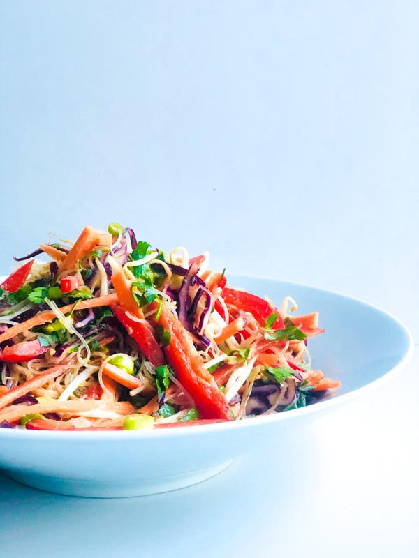 , Thai Crunchy Vegetable & Noodle Salad with Peanut Dressing, SpicyFig, SpicyFig