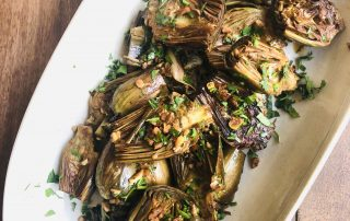 Braised Artichokes with White Wine & Lemon