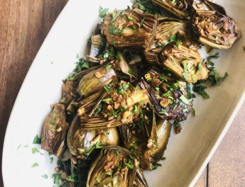 White Wine Braised Artichokes with Lemon & Garlic