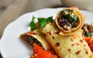 Spinach and Mushroom Crepes with Smoky Tomato Sauce