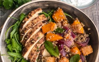 Sumac Chicken & Quinoa Salad with Butternut Squash & Garlic Yogurt