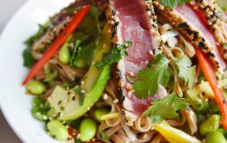 Seared Tuna and Soba Noodle Sushi Salad