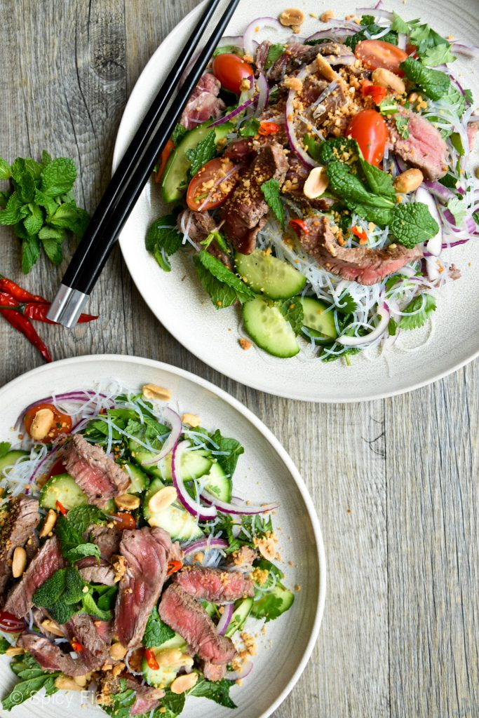 Thai beef salad with noodles, Thai Beef Salad with Noodles, SpicyFig, SpicyFig