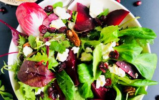 Roasted Beet, Feta & Pecan Salad with Maple-Dijon vinaigrette
