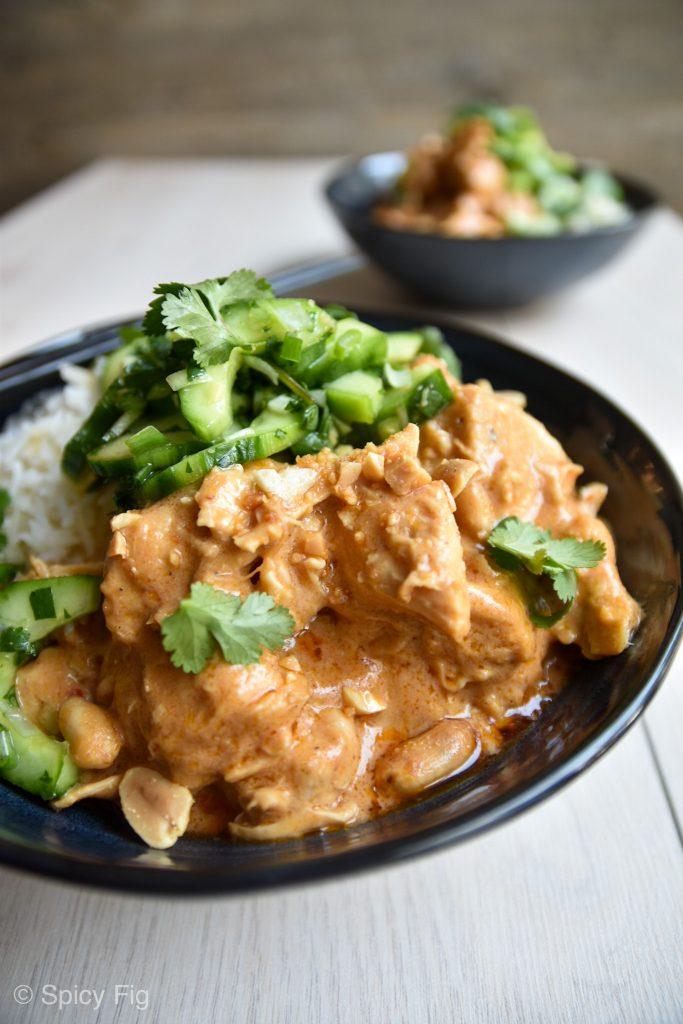 Peanut chicken, Spicy Peanut Chicken with Cucumber Salad, SpicyFig, SpicyFig