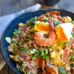 Shrimp fried rice, Shrimp Fried Rice with Poached Eggs, SpicyFig, SpicyFig