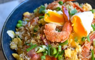 Shrimp Fried Rice with Poached Eggs