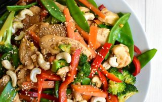 Chicken and Vegetable Stir-fry with Cashews