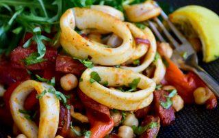 Calamari and Chorizo Salad with Arugula and Chickpeas