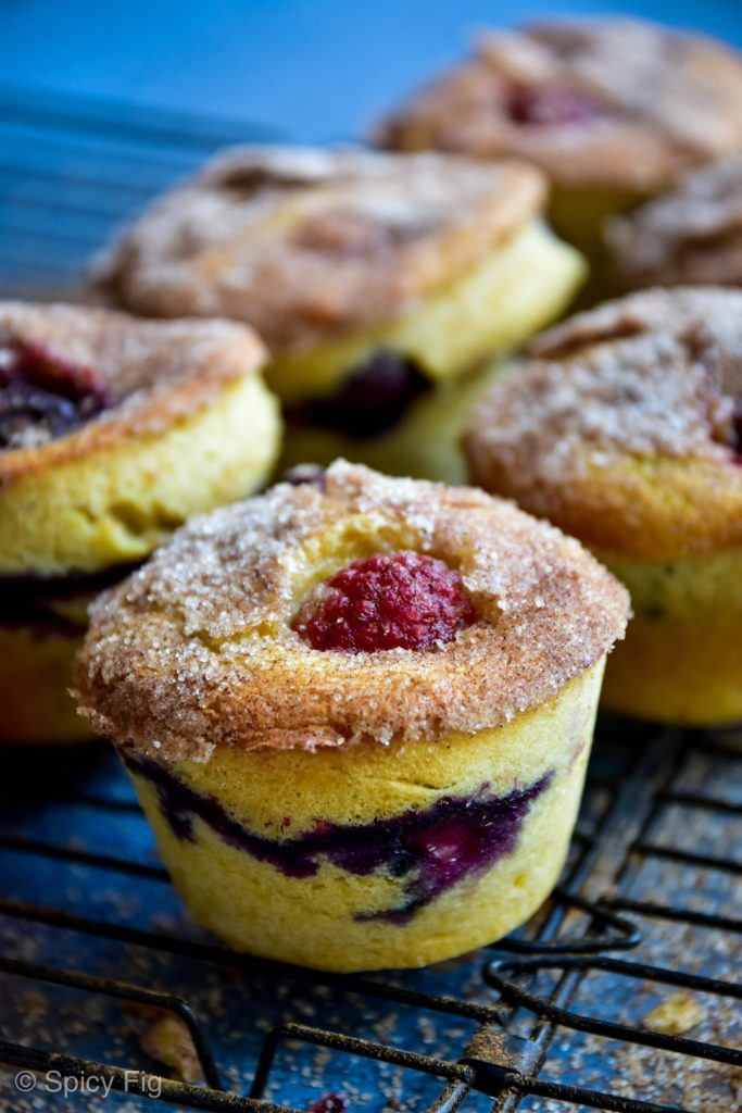 Berry and lemon muffins, Fresh Berry and Lemon Muffins with Cinnamon Sugar, SpicyFig