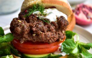Middle Eastern Lamb Burgers with Mint & Garlic Yogurt Sauce