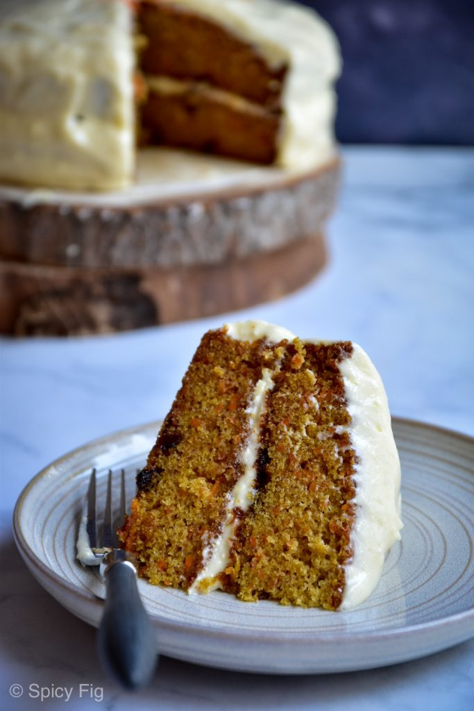 carrot cake, Carrot Cake with Maple Cream Cheese Frosting, SpicyFig