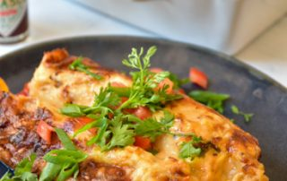Mushroom and Pepper Enchiladas with Chipotle Cream Sauce