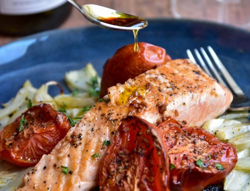 Salmon with Fennel and Slow Roasted Tomatoes
